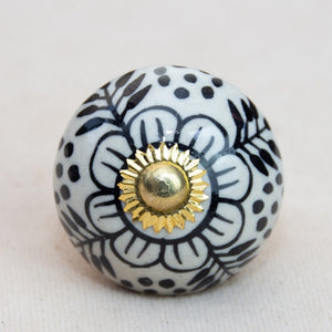 Hand Painted Antique Ceramic Door Drawer Knob - Nordic Spring - Beths Emporium