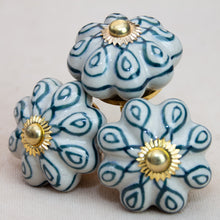 Load image into Gallery viewer, Hand Painted Antique Ceramic Door Drawer Knob - Teal Delight - Beths Emporium