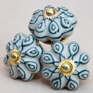 Hand Painted Antique Ceramic Door Drawer Knob - Teal Delight - Beths Emporium