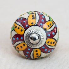 Load image into Gallery viewer, Hand Painted Antique Ceramic Door Drawer Knob - Passionfruit Flower - Beths Emporium