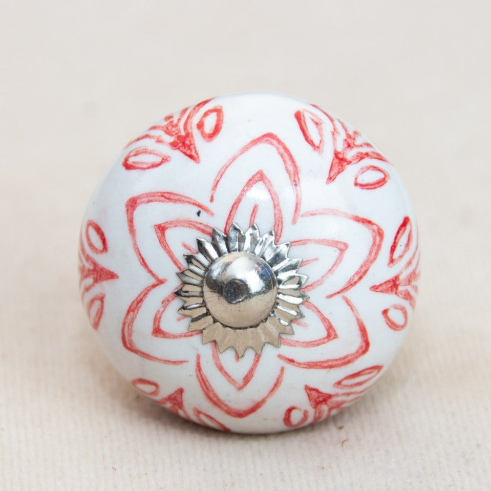 Hand Painted Antique Ceramic Door Drawer Knob - Indian Influences - Beths Emporium