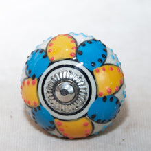 Load image into Gallery viewer, Hand Painted Antique Ceramic Door Drawer Knob - Kiss of Sky & Sun - Beths Emporium