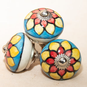 Hand Painted Antique Ceramic Door Drawer Knob - Flower of the Field - Beths Emporium