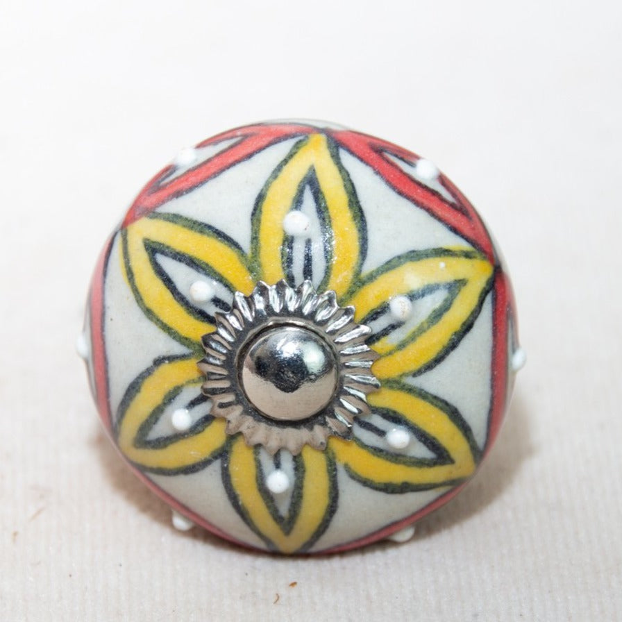 Hand Painted Antique Ceramic Door Drawer Knob - Perfect Petals - Beths Emporium