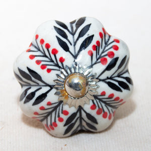 Hand Painted Antique Ceramic Door Drawer Knob - Whispering Wind - Beths Emporium