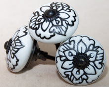Load image into Gallery viewer, Hand Painted Antique Ceramic Door Drawer Knob - White Lily - Beths Emporium