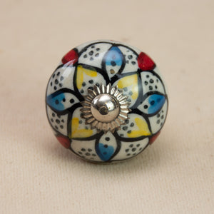 Hand Painted Antique Ceramic Door Drawer Knob - Brilliant Beauty - Beths Emporium