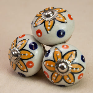 Hand Painted Antique Ceramic Door Drawer Knob - Sun Kissed - Beths Emporium