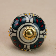 Load image into Gallery viewer, Hand Painted Antique Ceramic Door Drawer Knob - Deepest Green - Beths Emporium