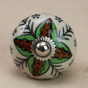 Hand Painted Antique Ceramic Door Drawer Knob - Forest Flower - Beths Emporium