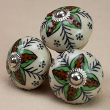 Load image into Gallery viewer, Hand Painted Antique Ceramic Door Drawer Knob - Forest Flower - Beths Emporium