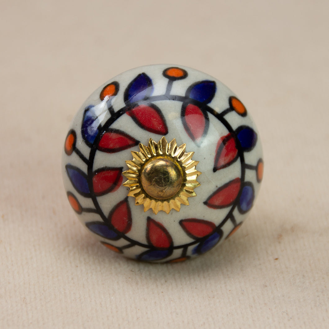 Hand Painted Antique Ceramic Door Drawer Knob - Roman Holiday - Beths Emporium