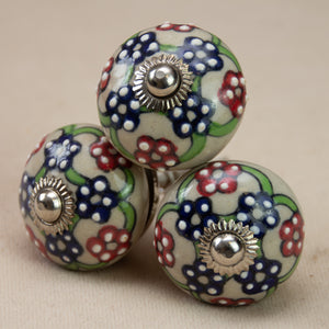Hand Painted Antique Ceramic Door Drawer Knob - The Flower Dance - Beths Emporium