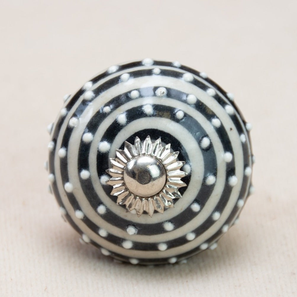 Hand Painted Antique Ceramic Door Drawer Knob - Polka Dot Swirl - Beths Emporium