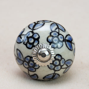 Hand Painted Antique Ceramic Door Drawer Knob - Blue Hydrangeas - Beths Emporium
