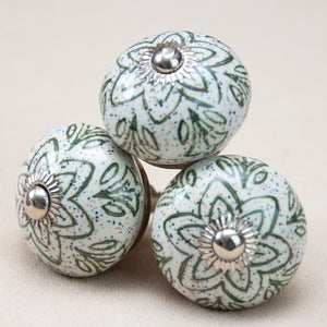 Hand Painted Antique Ceramic Door Drawer Knob - Go Green - Beths Emporium