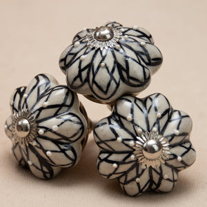 Hand Painted Antique Ceramic Door Drawer Knob - Tranquil Lotus - Beths Emporium