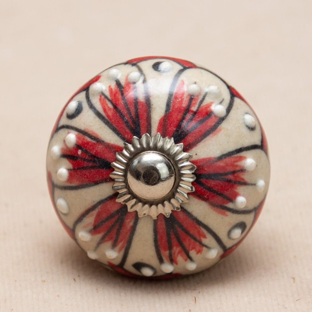 Hand Painted Antique Ceramic Door Drawer Knob - Tropical Blush - Beths Emporium