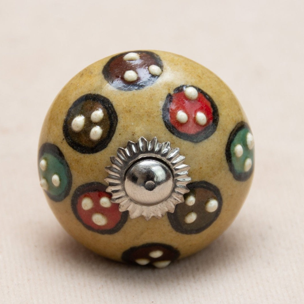 Hand Painted Antique Ceramic Door Drawer Knob - Magic Mushroom - Beths Emporium