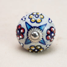 Load image into Gallery viewer, Hand Painted Antique Ceramic Door Drawer Knob - Four Flowers - Beths Emporium