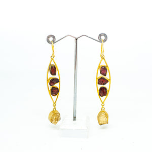 Handmade Red Garnett & Citrine Gold Plated Earrings  - one off piece - Beths Emporium