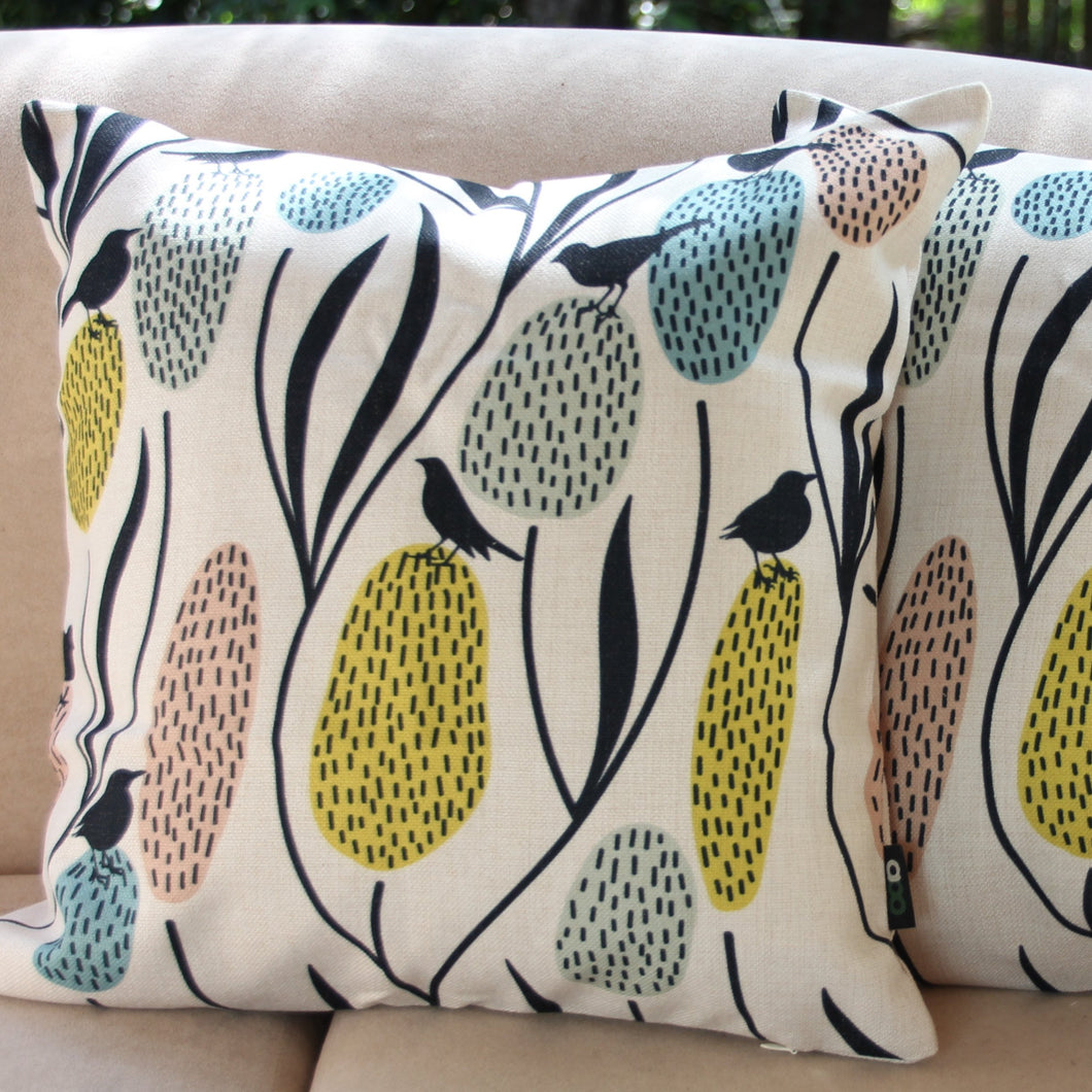 Banksias and Birds - Linen Cushion Cover - Beths Emporium