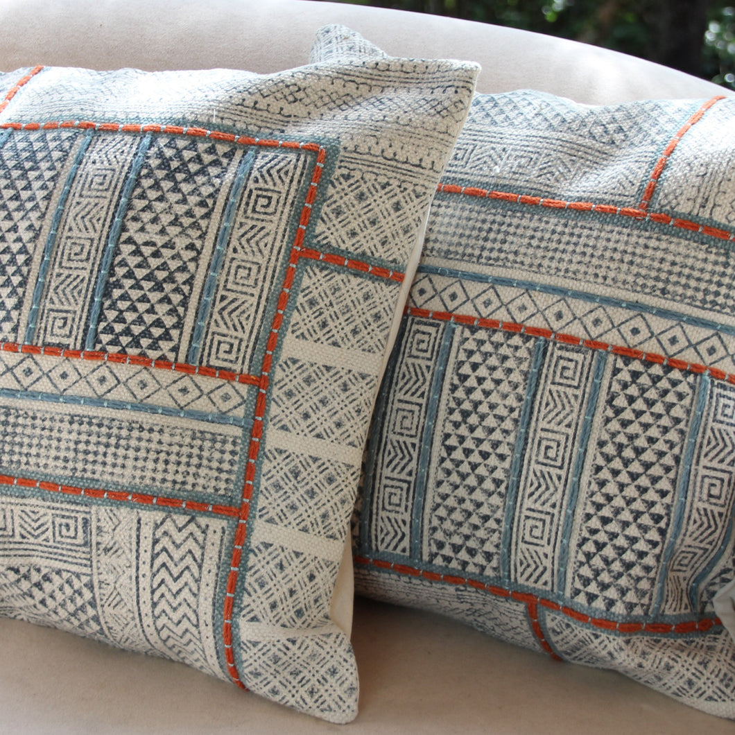 Hand Printed Cushion Cover with Embroidered Feature - Beths Emporium