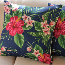 Load image into Gallery viewer, Linen Cushion Cover - Hibiscus & Frangipani - Beths Emporium