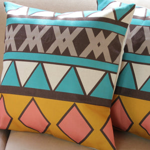 Linen Cushion Cover - Geometric - Aqua, Orange & Neutrals 30 x 30cm - Beths Emporium