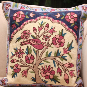 Embroidered  Cushion Cover - Tree of Life - 40 x 40 cm - Beths Emporium