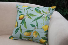 Load image into Gallery viewer, Linen Cushion Cover - Lemon Fresh on Soft Blue - Beths Emporium