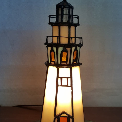 Leadlight Style Lighthouse Table Lamp - Beths Emporium