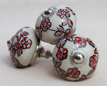 Load image into Gallery viewer, Hand Painted Antique Ceramic Door Drawer Knob - Red Roses for Love - Beths Emporium
