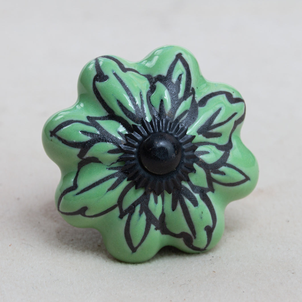 Hand Painted Antique Ceramic Door Drawer Knob - Jungle Juice - Beths Emporium