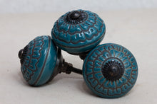 Load image into Gallery viewer, Hand Painted Antique Ceramic Door Drawer Knob - Deep Sea Teal - Beths Emporium
