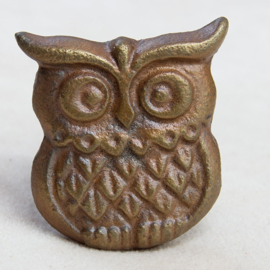 Hand Painted Antique Ceramic Door Drawer Knob - Friendly Owl - Cast Iron - Beths Emporium