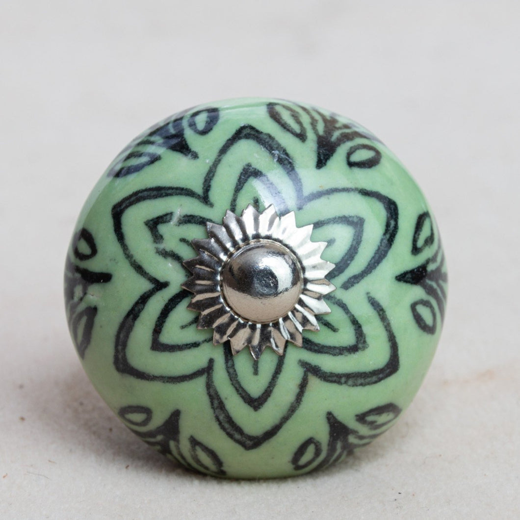 Hand Painted Antique Ceramic Door Drawer Knob - Pistachio Happiness - Beths Emporium