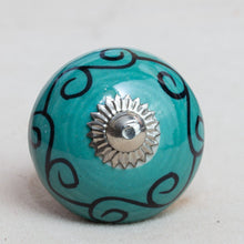 Load image into Gallery viewer, Hand Painted Antique Ceramic Door Drawer Knob - Waves of Aquamarine - Beths Emporium