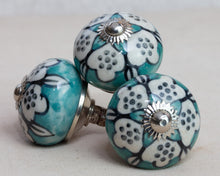 Load image into Gallery viewer, Hand Painted Antique Ceramic Door Drawer Knob - Playful Aqua - Beths Emporium