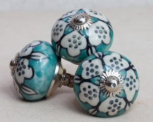 Hand Painted Antique Ceramic Door Drawer Knob - Playful Aqua - Beths Emporium