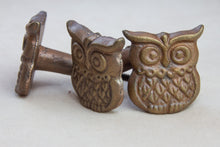 Load image into Gallery viewer, Hand Painted Antique Ceramic Door Drawer Knob - Friendly Owl - Cast Iron - Beths Emporium