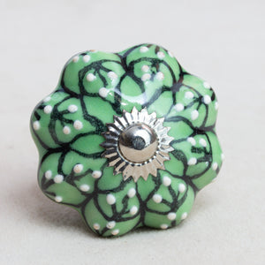Hand Painted Antique Vintage Ceramic Door Drawer Knob - Succulents - Beths Emporium