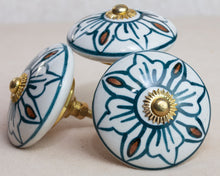 Load image into Gallery viewer, Large Hand Painted Antique Vintage Ceramic Door Drawer Knob - Art Deco - Beths Emporium