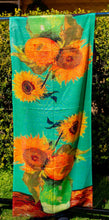 Load image into Gallery viewer, Cotton Impressionist Art Scarf - van Gogh : Three Sunflowers in a Vase