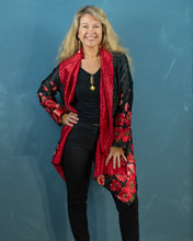 Load image into Gallery viewer, Reversible Silk Jacket - Black with Red Poppies - Collared - Beths Emporium