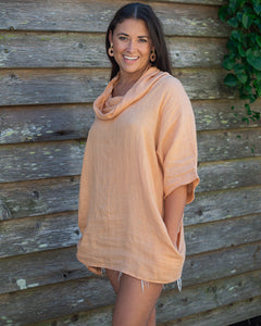 Salmon Linen Shirt with Cowl Neck - Beths Emporium