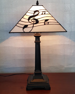 Leadlight Style Musical Treble Clef Table Lamp - Beths Emporium