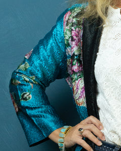 Reversible Silk Jacket - Aqua with Floral - Long Line - Beths Emporium