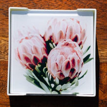 Load image into Gallery viewer, Set of Glass Coasters - Posy of Proteas - Beths Emporium