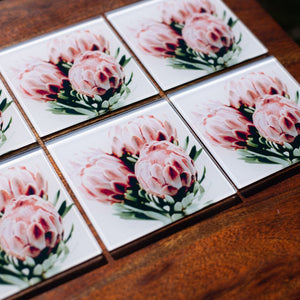 Set of Glass Coasters - Posy of Proteas - Beths Emporium